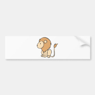 Custom Cute Sitting Baby Lion Cartoon Bumper Stickers