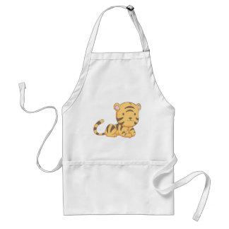 Custom Cute Smiling Cartoon Baby Tiger Cub Adult Apron