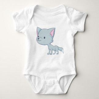 Custom Cute Smiling Cartoon Grey Baby Wolf Baby Bodysuit