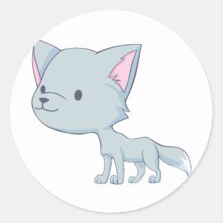 Custom Cute Smiling Cartoon Grey Baby Wolf Classic Round Sticker