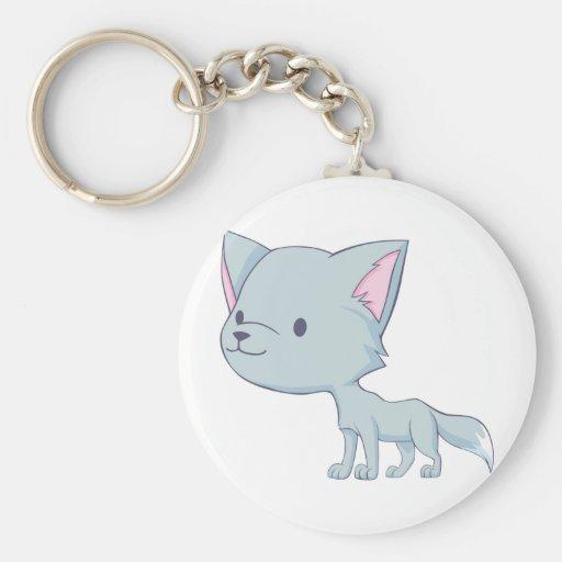 Custom Cute Smiling Cartoon Grey Baby Wolf Basic Round Button Keychain