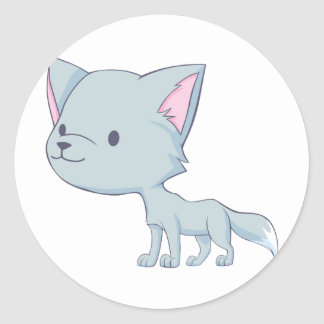 Custom Cute Smiling Cartoon Grey Baby Wolf Round Sticker