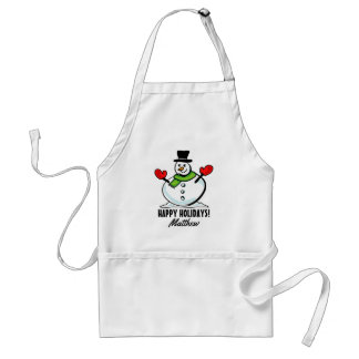 Custom cute snowman Christmas cooking kitchen Adult Apron