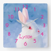 Custom cute white rabbit on blue snow background square wall clock