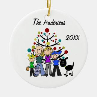 Custom Dad, Mom, Boy, Girl, Black Dog Ornament