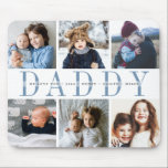 """Custom Daddy Father's Day Photo Collage Mouse Pad<br><div class=""""desc"""">Create a cool custom gift for the best dad around with this photo collage mousepad. Use the templates to add 6 photos,  and personalize with his children's names or a custom message in the center,  overlaid on """"DADDY"""" in soft blue-gray lettering. Makes an awesome unique gift for Father's Day!</div>"""