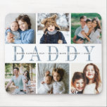 """Custom Daddy Photo Collage & Kids Names Mouse Pad<br><div class=""""desc"""">Create a cool custom gift for the best dad ever with this photo collage mousepad. Use the templates to add 6 photos,  and personalize with his children's names or a custom message in the center,  overlaid on """"DADDY"""" in soft blue lettering. Makes an awesome unique gift for Father's Day!</div>"""