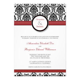 custom Damask black red Wedding Invitation