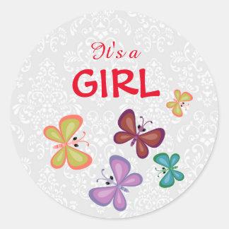 Custom Damask Floral Its a Girl Favor Sticker Tag