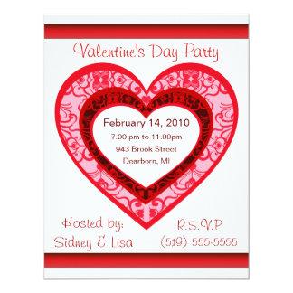 Custom Damask  Heart Valentine's Invitation