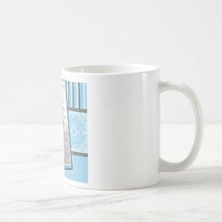 Custom Damask & Stripes Baby Photo Mug: baby blue Coffee Mug