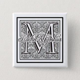 Custom damask wedding logo button