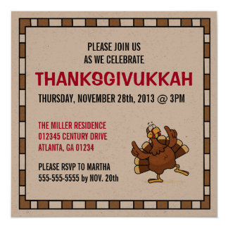 Custom Dancing Turkey Thanksgivukkah Invitations