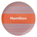 Custom Dark Orange and Lavender Striped Plate