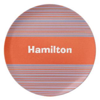 Custom Dark Orange and Lavender Striped Plate