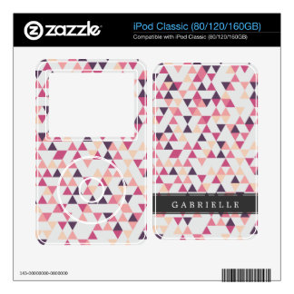 Custom Dark Pink Triangles Decal For iPod