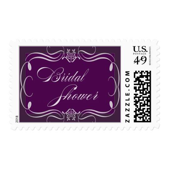 Custom dark plum and soft pink Bridal Shower Postage