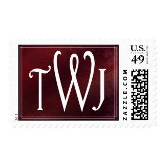 Custom dark red swirl monogram postage