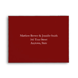 Custom Dark Red & White Envelope with Address