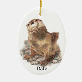 Custom Date Cute River Otter, Nature Animal Double-Sided Oval Ceramic Christmas Ornament