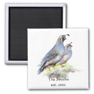 Custom Date Family Monogram California Quail Birds 2 Inch Square Magnet