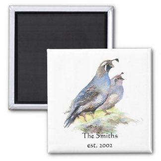 Custom Date Family Monogram California Quail Birds Magnet