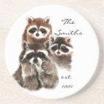 Custom Date Monogram Family Cute Raccoons Coaster