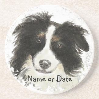 Custom Date or Name Border Collie, Pet, Dog Beverage Coasters