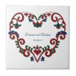 Custom Date Wedding Anniversary Scandinavian Heart Ceramic Tile