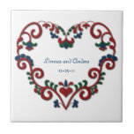 """Custom Date Wedding Anniversary Scandinavian Heart Tile<br><div class=""""desc"""">Customize this beautiful heart with your name, wedding date or monogram initial for a one of a kind unique personalized gift. Traditional Norwegian folk art painting, rosemaling is often seen in Scandinavian home of Sweden, Norway, Denmark and Finland, or at the Christmas holidays. Heart shaped stylized floral scroll design for...</div>"""