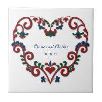 Custom Date Wedding Anniversary Scandinavian Heart Tile