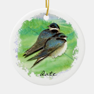 Custom Dated Barn Swallow Bird Nature Wildlife Christmas Ornaments