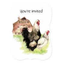 Custom Dated Birthday Party  Chicken farm Invitation