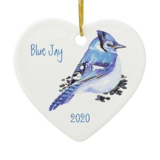 Custom Dated Blue Jay Bird Watercolor Art Double-Sided Heart Ceramic Christmas Ornament