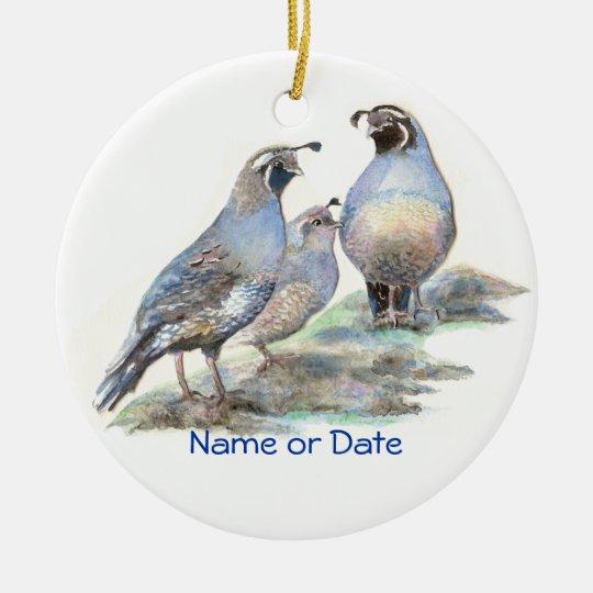 Custom Dated California Quail Watercolor Bird Ceramic Ornament