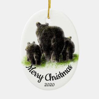 Custom Dated Christmas Bear Family Animal art Ceramic Ornament