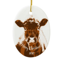 Custom Dated Christmas Cow Farm Animal Ceramic Ornament