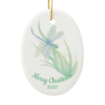 Custom Dated Christmas Dragonfly Watercolor art Ceramic Ornament