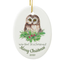 Custom Dated Christmas Funny Owl Quote Ceramic Ornament