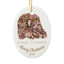 Custom Dated Christmas Go Away Reading Owl Fun Ceramic Ornament