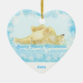 Custom Dated Christmas Polar Bear Fun Ceramic Ornament