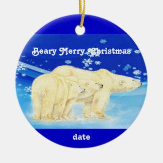 Custom Dated Christmas Polar Bears Fun Ceramic Ornament