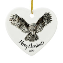 Custom Dated Christmas Striking Owl Bird Ceramic Ornament