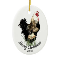 Custom Dated Christmas Watercolor Chicken Bird Ceramic Ornament