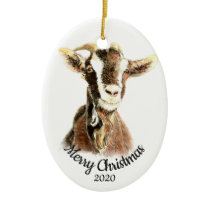 Custom Dated Christmas Watercolor Goat Farm Animal Ceramic Ornament