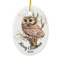 Custom Dated Christmas Watercolor Owl in Tree Ceramic Ornament