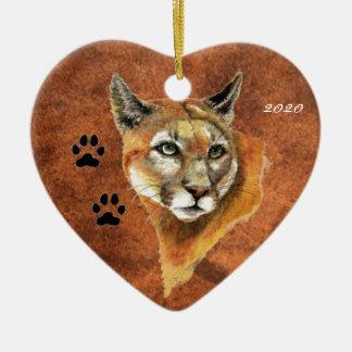 Custom, Dated Cougar, Puma, Mountain Lion Animal Double-Sided Heart Ceramic Christmas Ornament