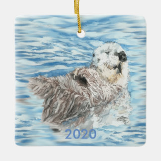 Custom Dated Cute Otter Floating Blue Water Ceramic Ornament