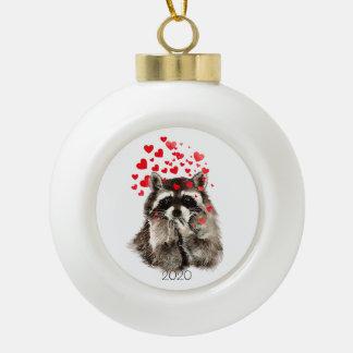 Custom Dated Cute Raccoon Animal Funny Love Hearts Ceramic Ball Christmas Ornament
