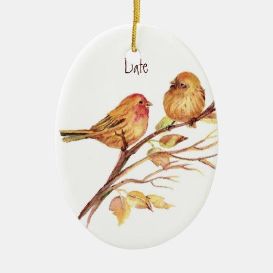Custom Dated Cute Sparrow Bird Couple Ceramic Ornament